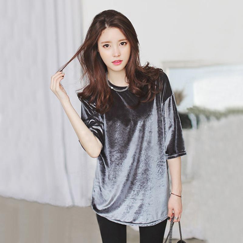 Buy 2015 Women 39 S Fashion Korean Gold Velvet Shirt Large Size Women 39 S Summer