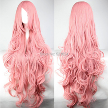 Long wavy Pink Cosplay wigs 100CM Synthetic wig Cheap curly wigs(China (Mainland))
