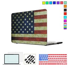 4 in 1 Kit US/UK Flag Pattern Rubberized Finsh Hard Case with Keyboard Cover for Apple Macbook Air Pro Retina 11 12 13 15 inch