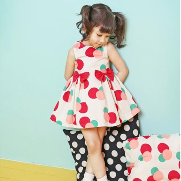 New Cheap Price Kids Girls Polka Dots Dress Pleated Dresses Cotton Bow Clothes Summer Dress 2-7Y(China (Mainland))