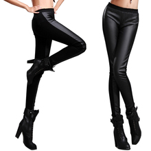Women Sexy PU  Leather Slim Tight  Trouser, Mid Waist Pencil Pants,  elastic velvet thickening leather pants Female(China (Mainland))