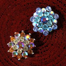 200pcs/lot 20MM 2Style Vintage Shiny Metal Dotted Colorful Crystal Clear Decorative Rhinestone Buttons For Girl Hair Accessories