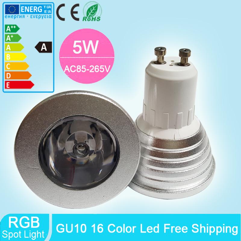 5W GU10 RGB LED Spot Light SMD AC 85V-265V 16 Colors Changing Dimmable Led Lamp Light Spotlight + 24key IR Remote Control(China (Mainland))