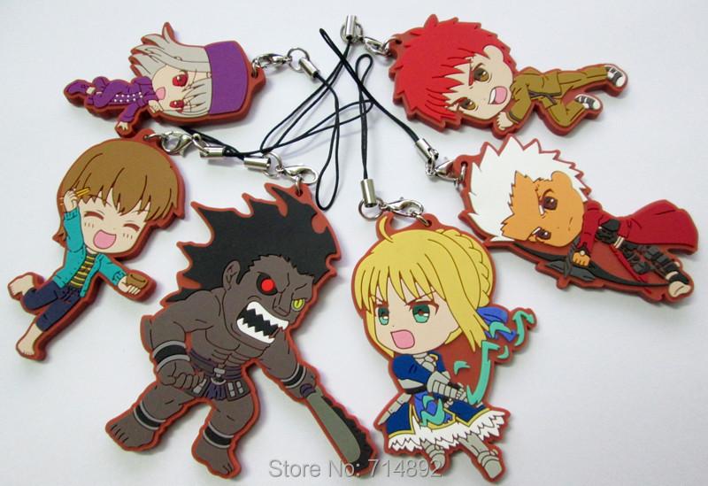 60 pcs/lot Fate stay night saber figure Shirou Emiya Tohsaka Rin PVC pendants & phone straps - Guangzhou Sunningdale Trading Co.,Ltd store