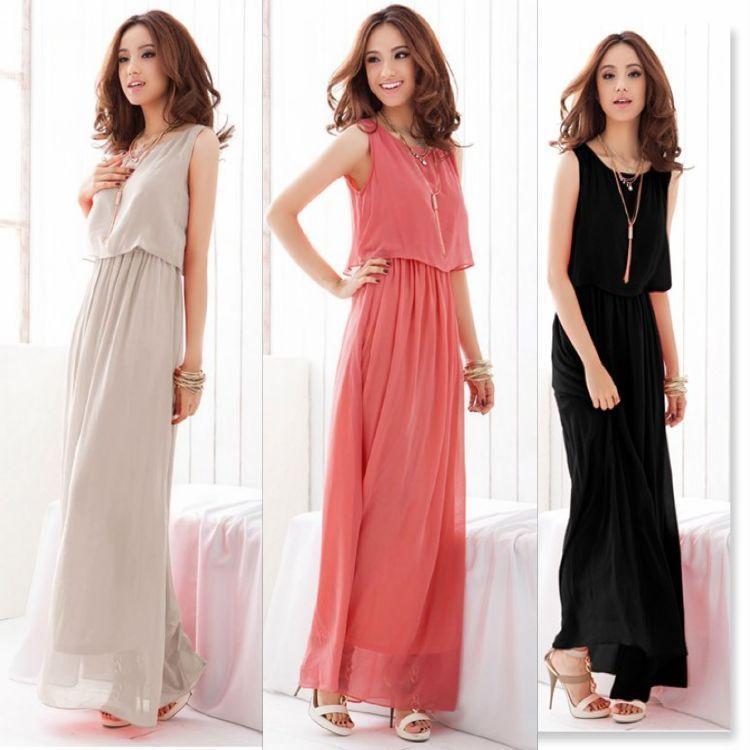 lady long dress women 2012 slim vest summer one-piece female bohemia elegant full chiffon beach