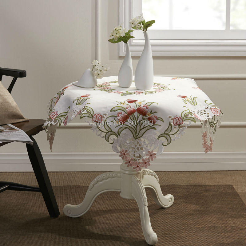 Pink tulip flowers embroidery cutwork square tablecloths for 85 square tablecloth