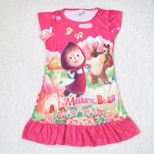 Hot Sale Children Nightgown Girl Pijamas Kids Print Cartoon Nightdress Girls Polyester Kids Sleepwear 3Colors One Piece Retail