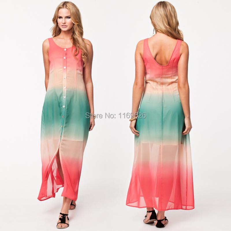 2014 New women summer maxi dress plus size rainbow tank ... - photo #25