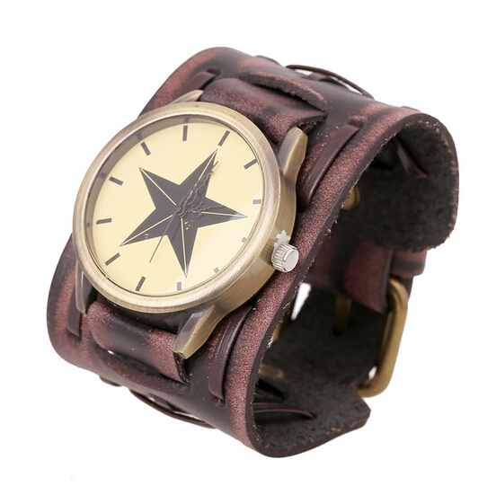 Punk Casual Leather Rock Wide Strap Weave Star Dial Wrist Watch Vintage Bracelet Best Gift Fashion