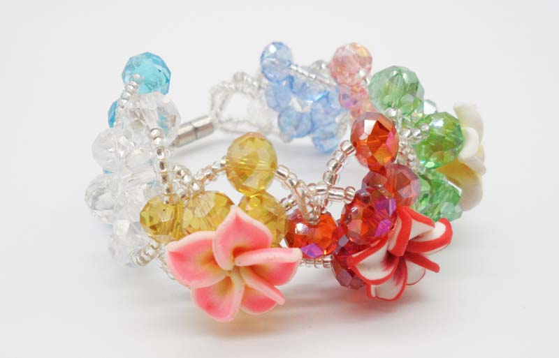 Candy Sweet Handmade Bracelet Colorful Polymer Clay Flower Multicolor Crystal Glass Beads Magnet Charm Bracelets For Girls(China (Mainland))