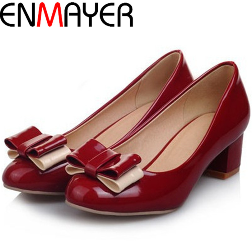 ENMAYER Round Toe women pumps Party Platform pumps Patent Leather Red black green, pink Wedding shoes NEW 2015<br><br>Aliexpress