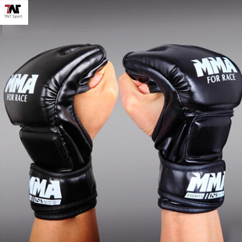 Leather Half Finger Fight Boxing Gloves Mitts Sanda Karate Sandbag Taekwondo Protector For Boxeo Mma Muay Thai Kick Boxing male