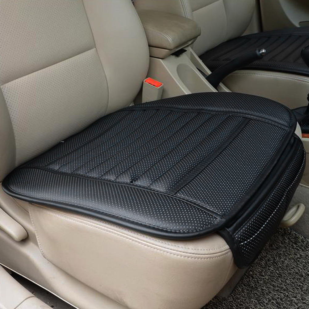 Single Seat without Backrest 1-Pack, Black Car Seat Cushion Car Seat Pad with PU Leather Bamboo Charcoal Car Seat Protector for for Auto Supplies Office Chair