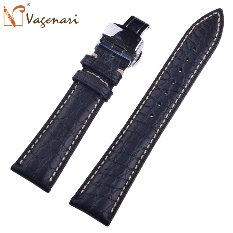 A016 Black South America Alligator Genuine Leather Strap For Watches 22mm 100% Hand Stitch Watch Strap For Panerai