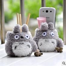 Kawaii Fluffy Totoro  Phone Holder Cellphone Stand dual Pen Holder Brush Pot Birthday Gift