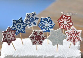 Free Shipping Christmas snowflake cupcake picks toppers monogram card decoration cake topper decorations for  party wedding