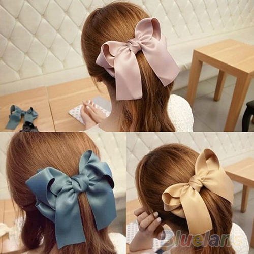 Hair Accessories Korean Women Multicolor Satin Ribbon Bow Hair Clip s Barrette Ponytail Holder 032G(China (Mainland))