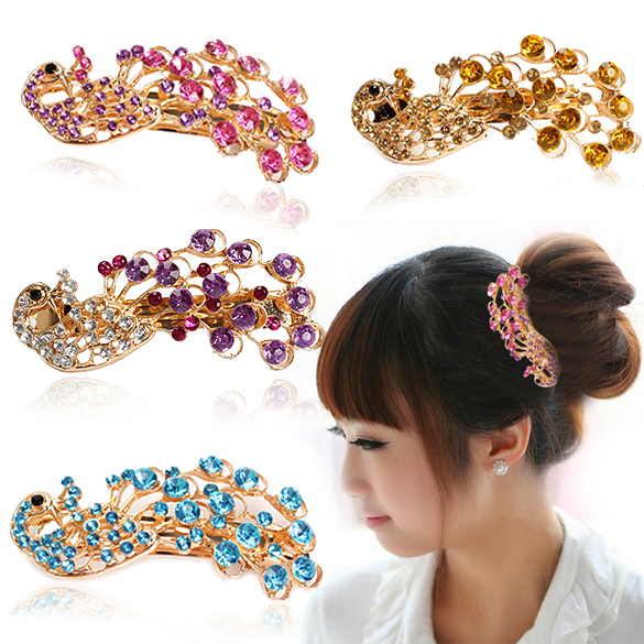 Wholesale Promotion Fashion Peacock Full Crystal Rhinestone Girls Hair Clip Decoration Hairpin Bobby Pin ASAF(China (Mainland))