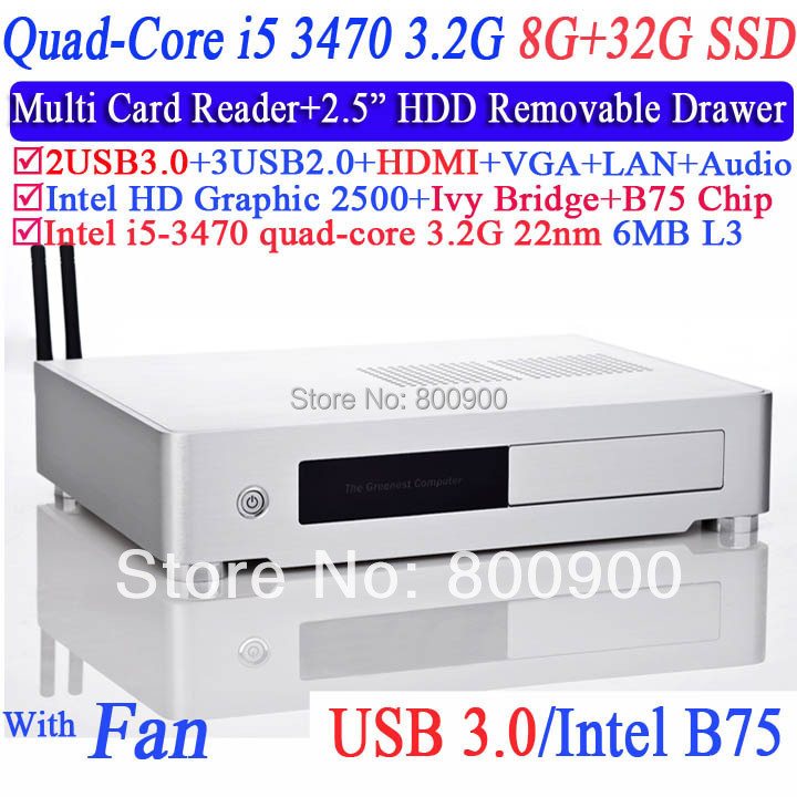thinclient cloud terminal with i5 3470 3.2G Quad Core USB 3.0 HDMI multi card reader 2.5 inch HDD drawer included 8G RAM 32G SSD(China (Mainland))