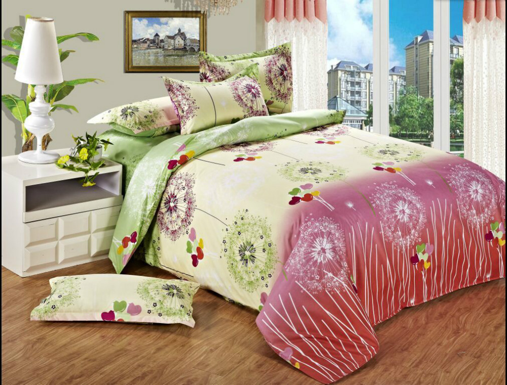 Twin full queen beautiful cheap bedding pink green white for Cheap white twin bed