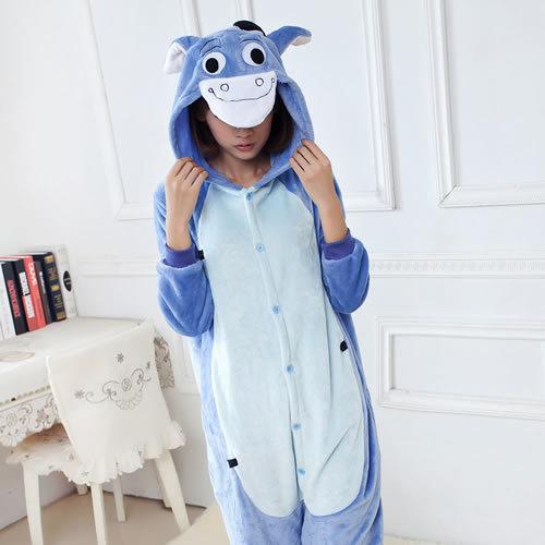 New Cartoon Donkey Anime Animal Women/Men Halloween Dress Party Cosplay Costume Onesie For Adult Unisex Flannel Pajamas/Nighty(China (Mainland))