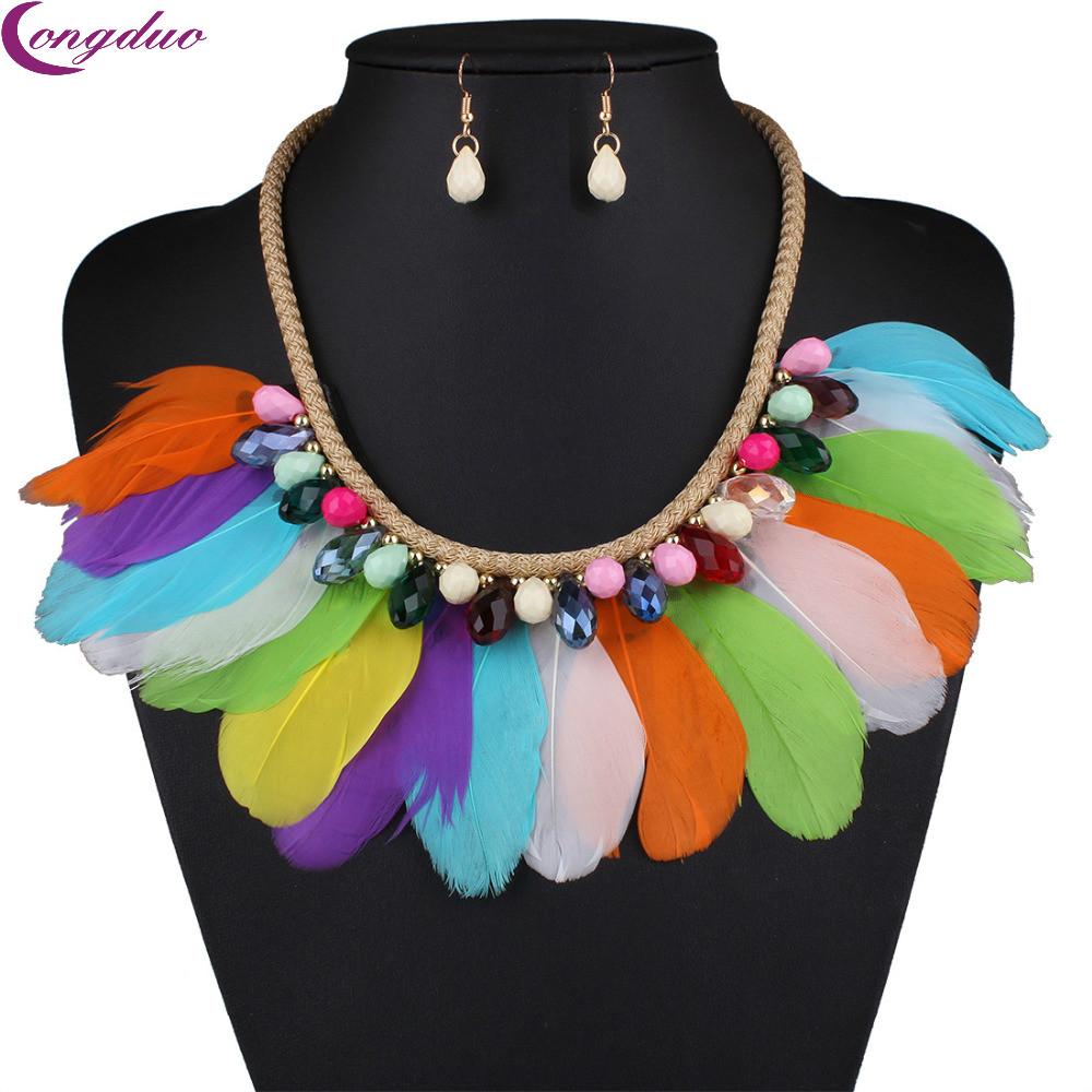 Feather Bohemian Jewelry Sets Boho Candy Crystal Jewelry Sets Tassel Big Statement Necklace Set Earrings for Women(China (Mainland))