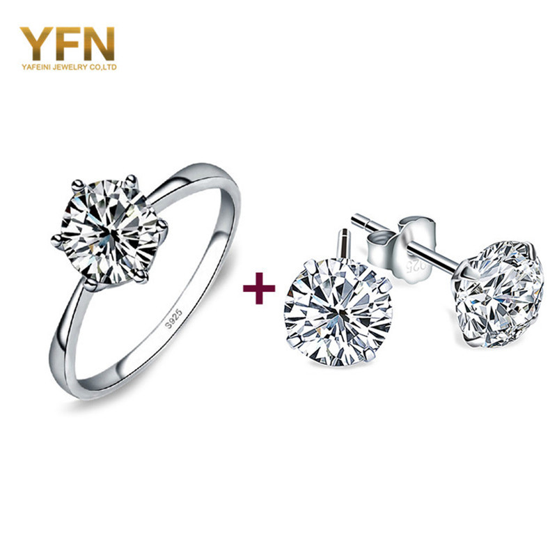 Genuine 925 Sterling Silver Jewelry Cubic Zircon Diamond Earrings Ring Set Wholesale Party Jewelry Sets For Engagement & Wedding(China (Mainland))