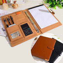 PU leather folder Padfolio multifunction organizer planner notebook ring binder A4 file folder with calculator office supplies(China (Mainland))