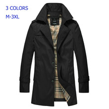 2014 Autumn Hot-selling Trench Coat Men Single Breasted Trench Men's Outerwear Casual Coat Men's Jackets M-3XL 80R(China (Mainland))