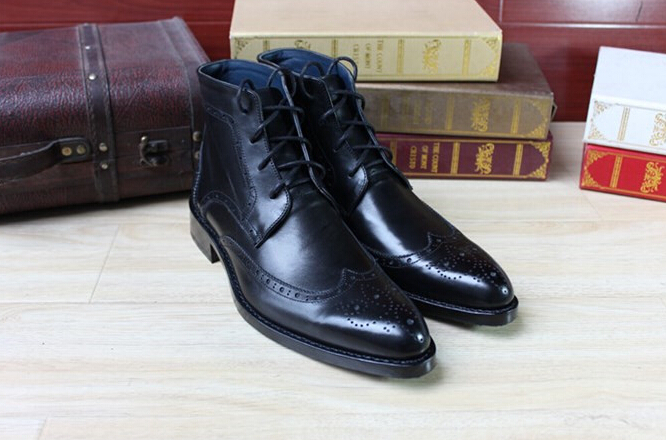 Best quality Brand Goodyear Handmade Ankle Martin boot First layer leather Wing tip Brogue mens shoes Winter Autumn Short boots - all -An HU's store