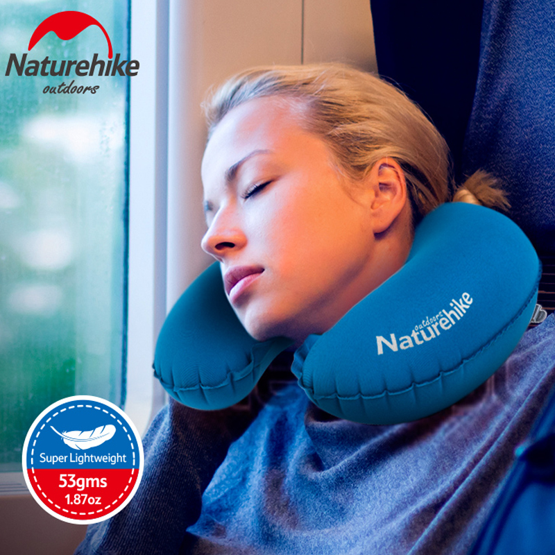 Naturehike Portable U Shape Inflatable Pillow Sleeping Gear Travel Inflatable Cushion Soft Neck Protective HeadRest Plane Pillow(China (Mainland))