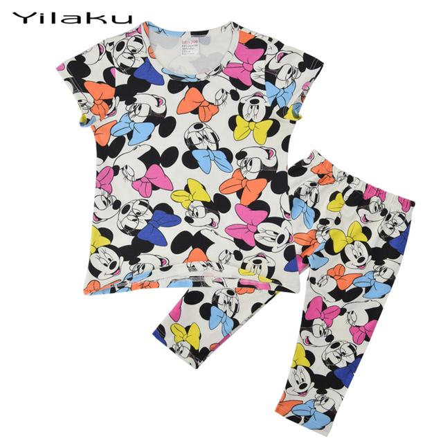 Розничная хлопка детей Moletom микки 2 шт. комплект одежды новорожденных девочек мальчиков мультфильм печатных пижамы Vetement микки гарсон CF231