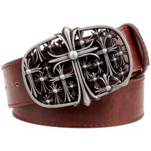 Buy Fashion men's belt metal buckle silver hollow cross pattern belt Chrome flower Heart punk rock belt women jeans strap punk style for $9.58 in AliExpress store