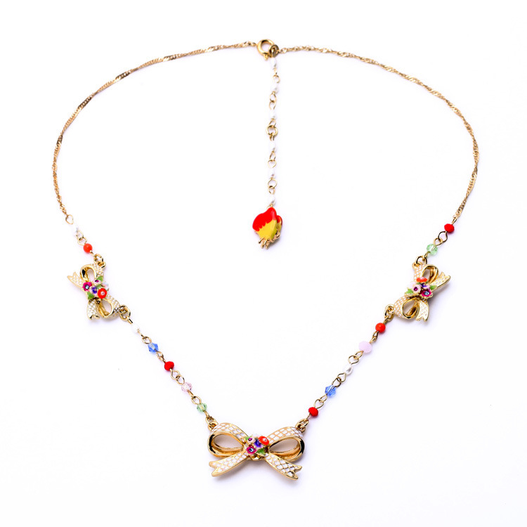 Collier Maxi Necklace France Lovely generous bow Fashion Necklaces & Pendants Maxi Mixed Statement For Women(China (Mainland))