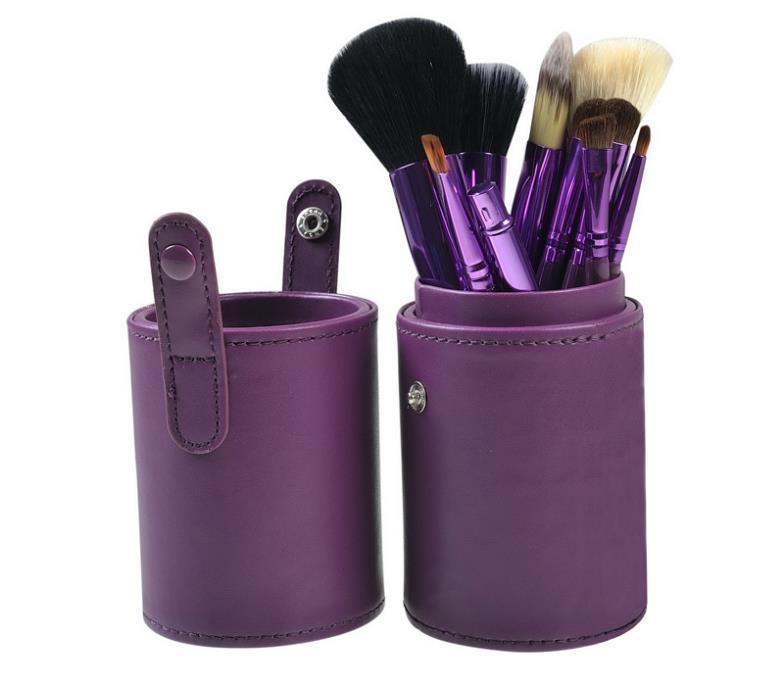 New brand MC Professional Purple 12 pcs Makeup Brush Set Kits Synthetic Hair wood brushes Leather Cup Holder Case kit Tools(China (Mainland))