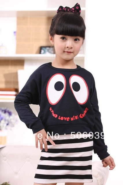 free shipping Spring clothing children's suit/girl big eyes two-piece suit  / 2 piece striped suit