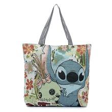 Fashion 3D Printing Cartoon Stitch Canvas Tote Bag Flowers Women Handbag Shoulder Bags Women Shopping Bags Beach Bag(China (Mainland))