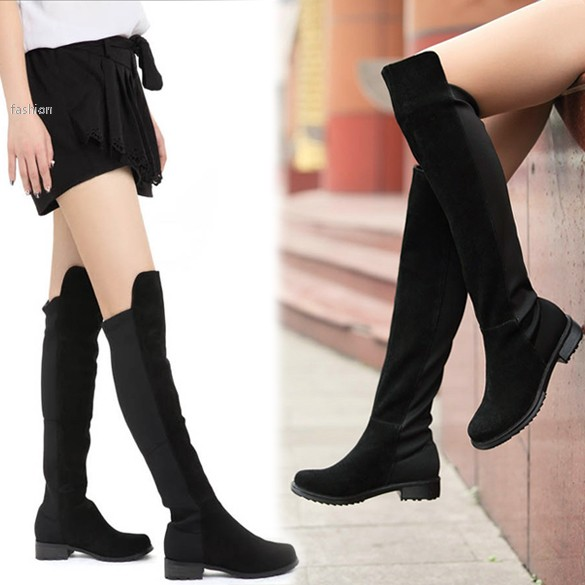 black fashion s shoes the knee faux suede high