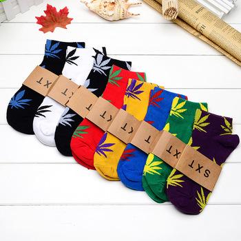 Cotton Germany's Harajuku Hip Hop Maple Leaf Socks Men's Street Boat Sock for Men