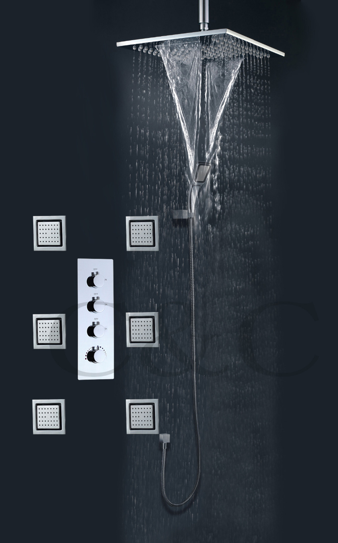 Rainfall Bathroom Shower Faucet Set With Waterfall And Rain Bathroom Shower Head 6 Pcs 4 Inch Massage Spray Jets(China (Mainland))