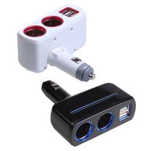 Universal 2 Ways Car Auto Cigarette Lighter Socket Splitter Power Adapter 2.1A / 1.0A 80W + Dual USB Charger Socket (China (Mainland))