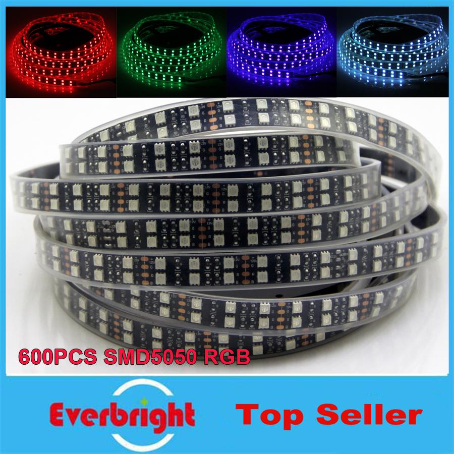 New Black PCB LED Strip RGB 5050 Double Row,Black PCB Board,IP67 Silicone Tube Waterproof,120LED/m,5m 600LEDs DC12V Black PCB(China (Mainland))