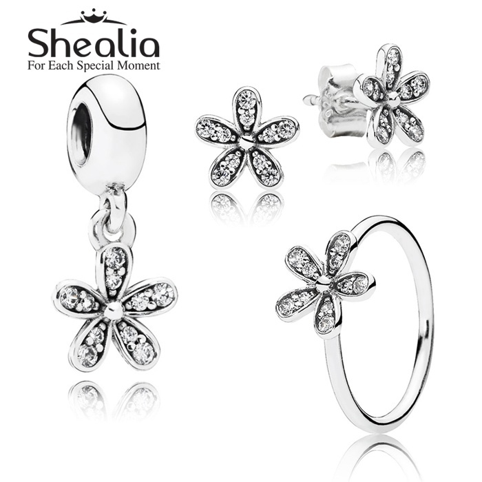 2015 New 925 Sterling Silver Flowers Jewelry Sets-Pave Daisy Stud Earrings /Pendant /Rings For Women DIY Accessories SHEALIA