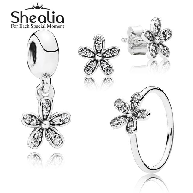 925 чистое серебро цветы ювелирные комплект - проложить маргаритка серьги-гвоздики / кулон / кольца для женщины своими руками аксессуары SHEALIA