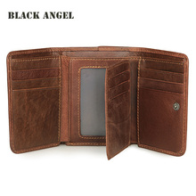 Buy Vintage genuine leather men wallets Cowhide Trifold Male wallet short vertical design purse card holder for $14.58 in AliExpress store