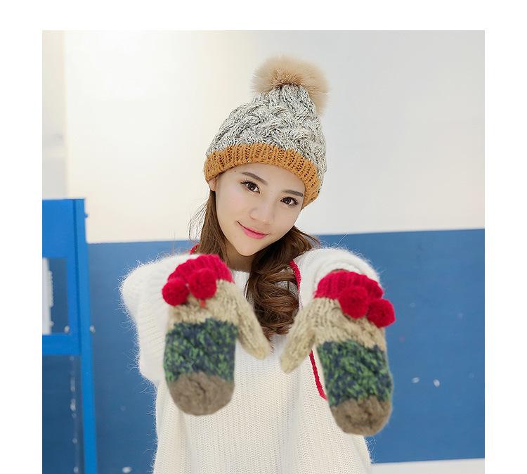 CIVICHIC Korean Stylish Color Mix Winter Warm Set Woman Knit Gloves Hat Pompon Beanies Cap Thicken Mitten Crochet Headwear SH166
