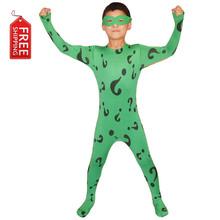 boys Riddler costume kids superhero Batman cosplay Halloween costumes for kids Children green bodysuit zentai custom wholesale