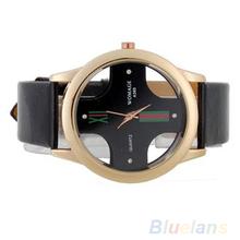 2014 moda de nueva hombres de lujo estilo Skeleton Dial de cuero de imitación reloj análogo 0RP2