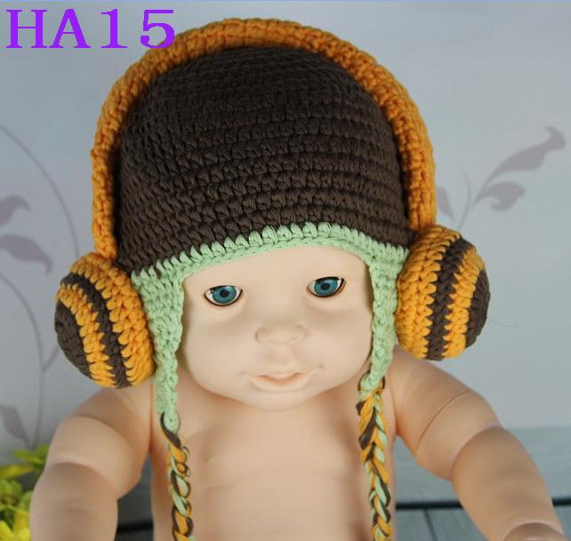 Free Shipping Crochet Headphone Knitted Hat Newborn Infant Toddler Baby Boys Girls Kids Winter Children's Headset Beanie Cotton(China (Mainland))