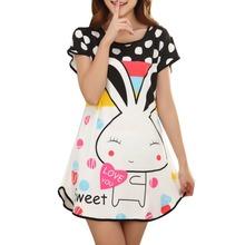Great Cute Women's Cartoon Polka Dot Sleepshirt Short Sleeve Sleepwear Fashion ladies Nightgowns One piece Factory Wholesale